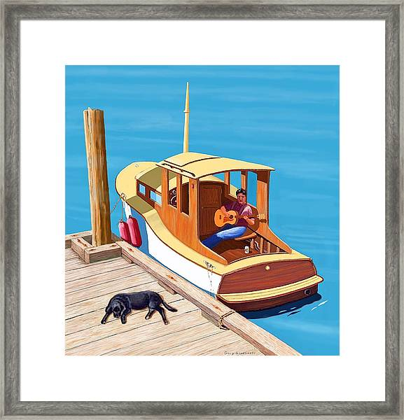 A Man, A Dog And An Old Boat Framed Print
