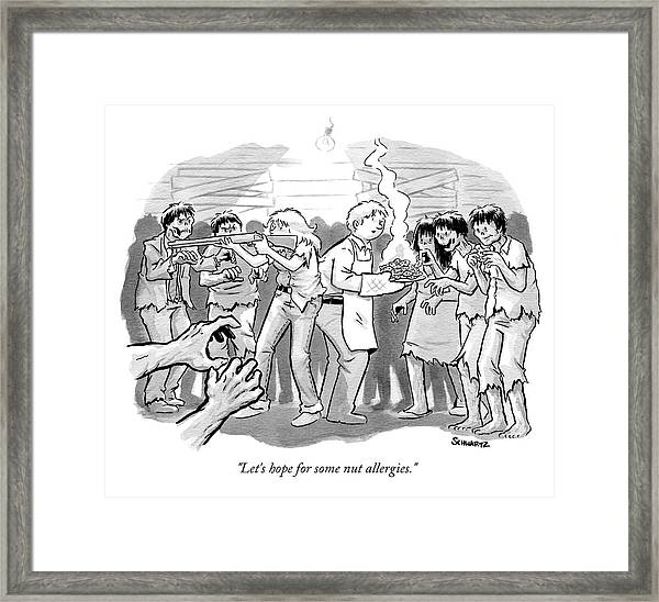 A Man And A Woman Stand In The Middle Of A Horde Framed Print