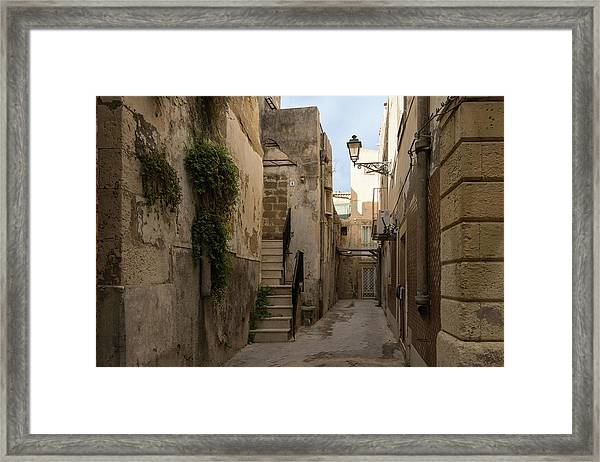 A Marble Staircase To Nowhere - Tiny Italian Lane In Syracuse Sicily Framed Print
