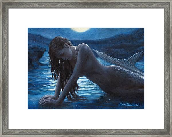 A Mermaid In The Moonlight - Love Is Mystery Framed Print