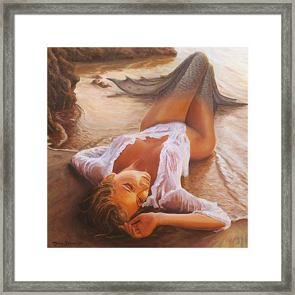 A Mermaid In The Sunset - Love Is Seduction Framed Print
