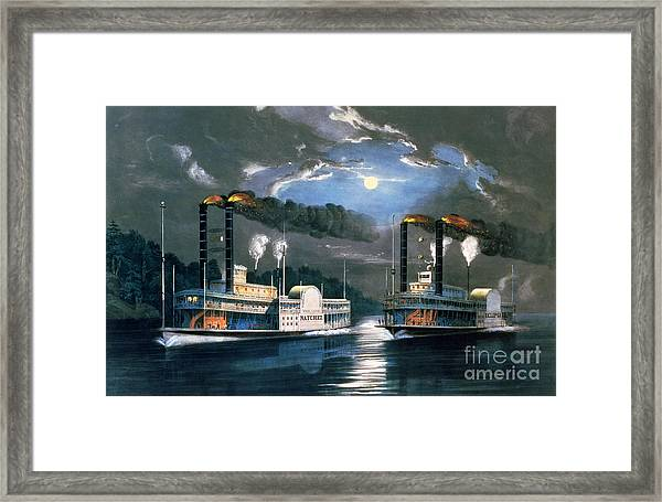 A Midnight Race On The Mississippi Framed Print