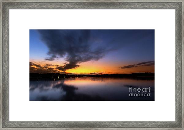 A Misty Sunset On Lake Lanier Framed Print