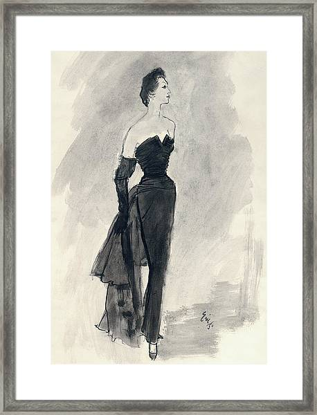 A Model Wearing A Nina Ricci Dress Framed Print