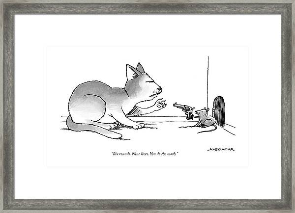 A Mouse Is In Front Of A Mouse Hole Pointing Framed Print