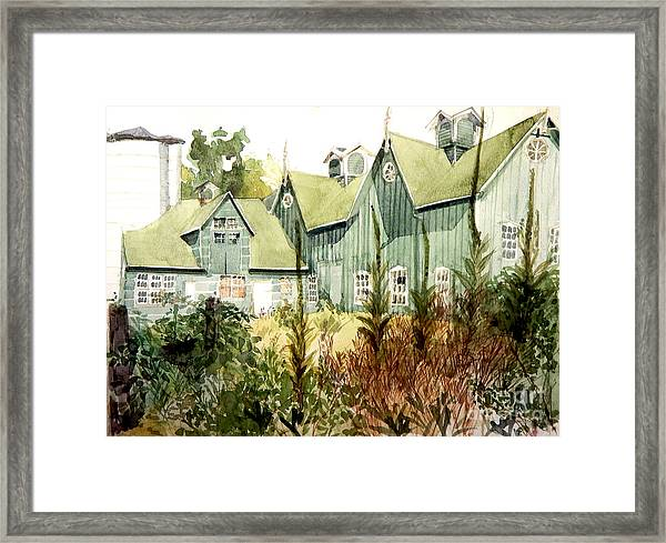 Watercolor Of An Old Wooden Barn Painted Green With Silo In The Sun Framed Print