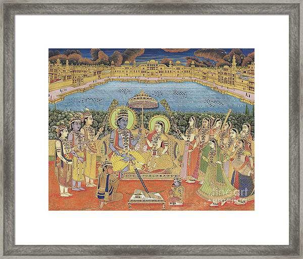 A Painting Of Rama And Sita, India, Jaipur, Circa 1800  Framed Print