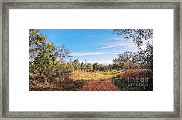 A Peaceful Stroll Along The Hackenburg Loop At Pedernales Falls State Park - Texas Hill Country Framed Print