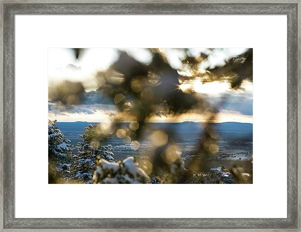 Framed Print featuring the photograph A Peek At Taos Mesa by Jason Coward