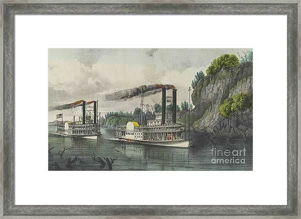 A Race On The Mississippi, 1870 Framed Print