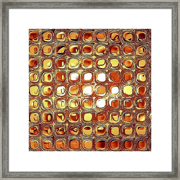 A Rectangle Of Repeating Reflective Rectilinear Reliefs Framed Print