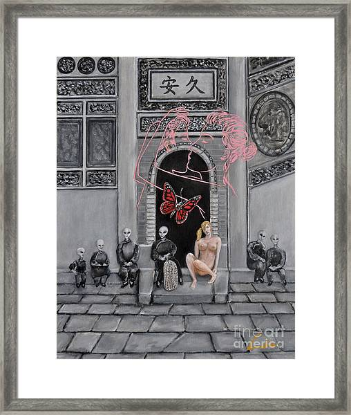 A Red Butterfly Framed Print by CH Narrationism
