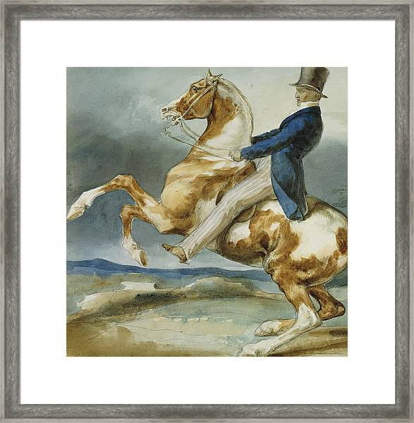 A Rider And His Rearing Horse Framed Print