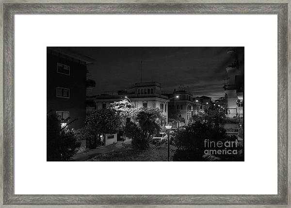 A Roman Street At Night Framed Print
