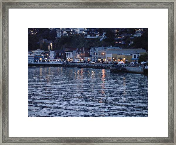 A Scenery Of Sausalito At Dusk Framed Print