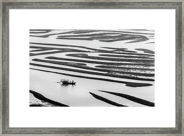 A Solitary Boatman. Framed Print