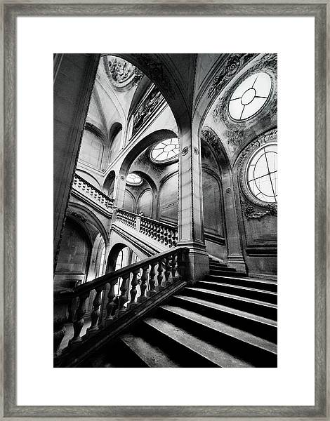 A Stairwell In The Louvre, Paris Framed Print