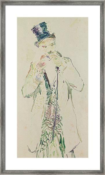 A Standing Gentleman Lighting His Cigar, 1885 Framed Print
