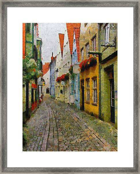 A Stroll Through The Street Framed Print