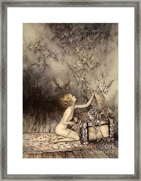 A Sudden Swarm Of Winged Creatures Brushed Past Her Framed Print