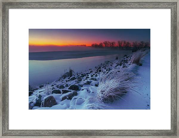 Framed Print featuring the photograph A Sunrise Cold by John De Bord