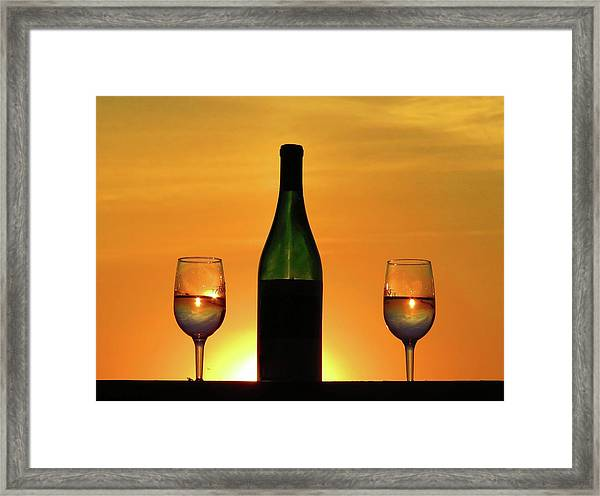 A Sunset In Each Glass Framed Print