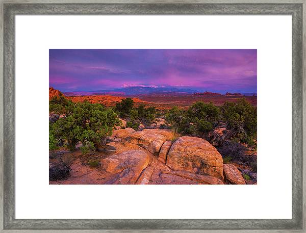 A Sunset Over Arches Framed Print