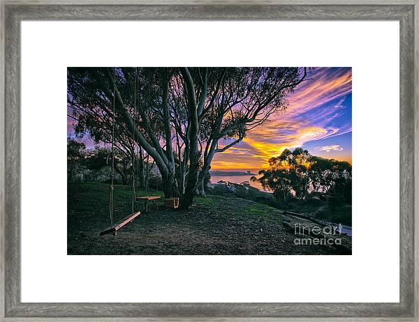 A Swinging Sunset From The Secret Swings Of La Jolla Framed Print