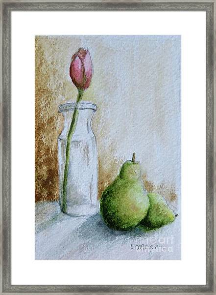 A Tulip And Two Pears Framed Print