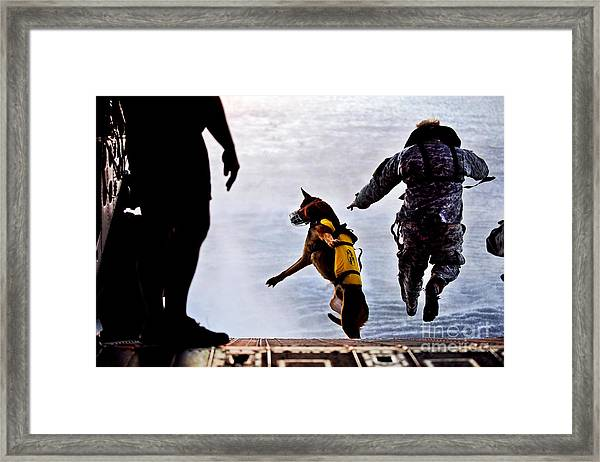 A U.s. Soldier And His Military Working Framed Print