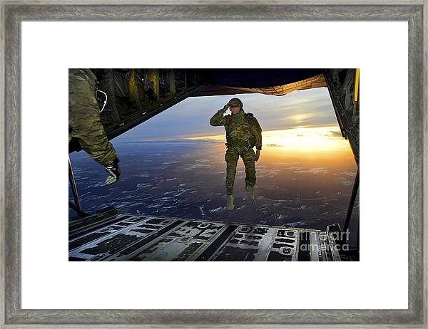 A U.s. Soldier Salutes His Fellow Framed Print