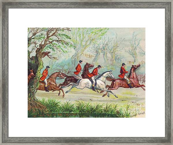 A Victorian Greeting Card Of Fox Hunters Racing By While The Fox Hides In A Tree Framed Print