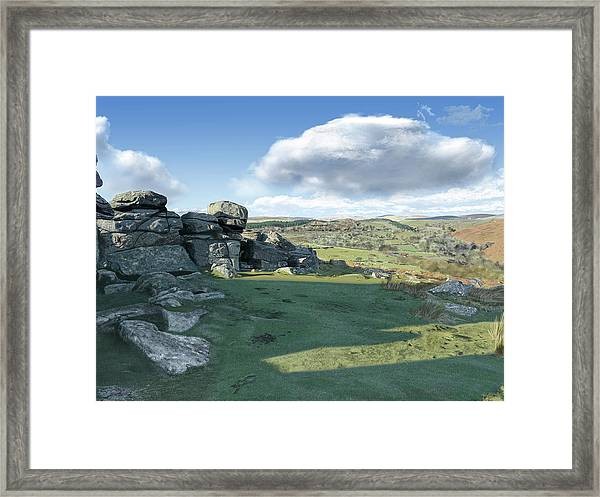 A View From Combestone Tor Framed Print