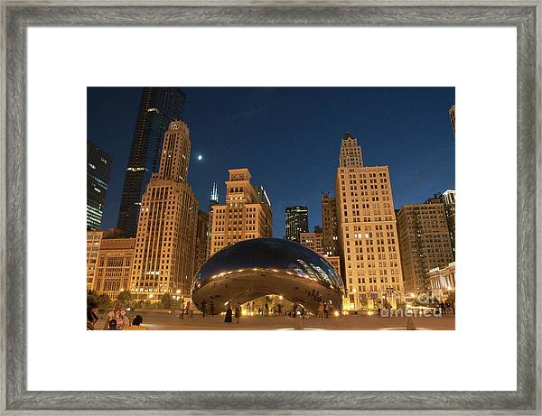 A View From Millenium Park At Night Framed Print