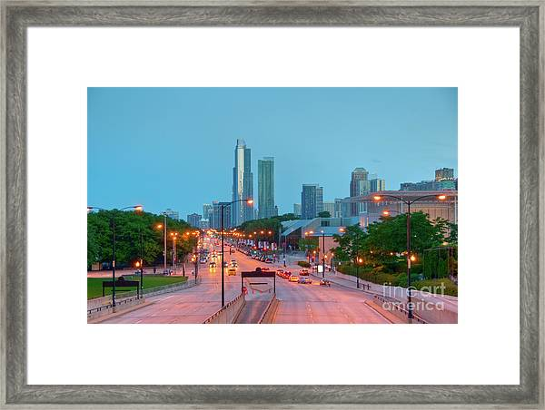 A View Of Columbus Drive In Chicago Framed Print