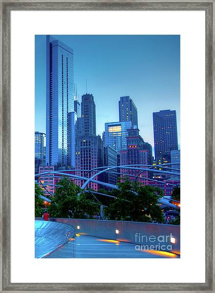A View Of Millenium Park From The Amoco Bridge In Chicago At Dus Framed Print