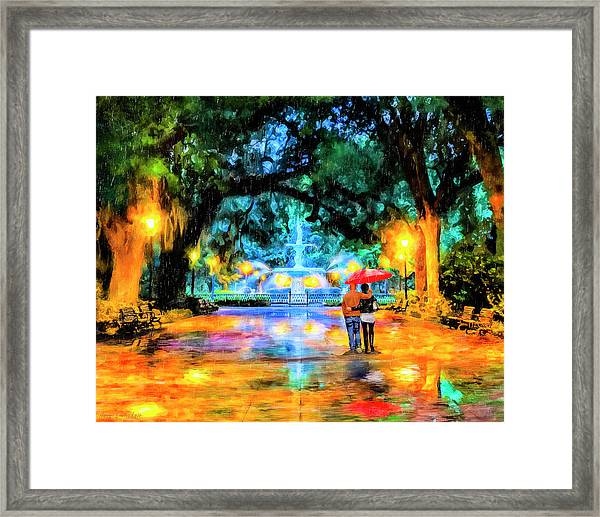 A Walk In Forsyth Park - Savannah Framed Print