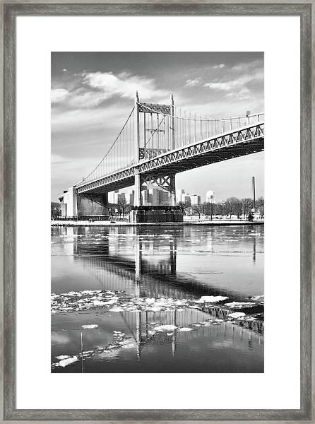 A Winter Portrait Of The Triboro Bridge Framed Print