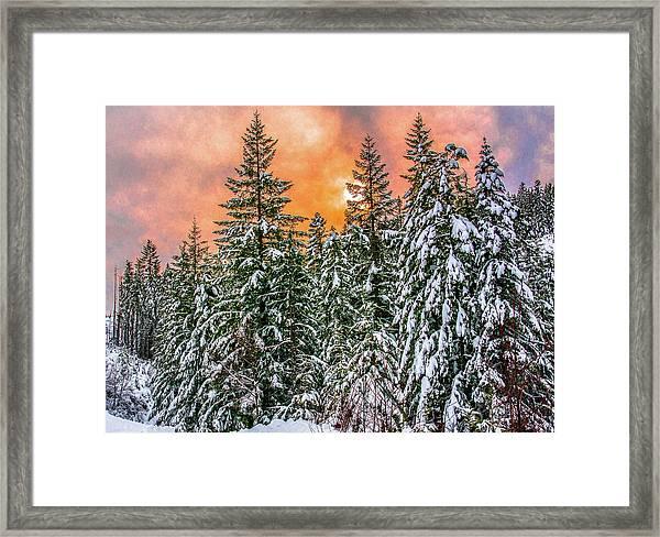 A Winters Sky Set Ablaze Framed Print