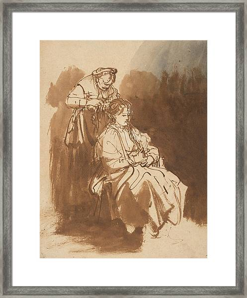 A Young Woman Having Her Hair Braided Framed Print