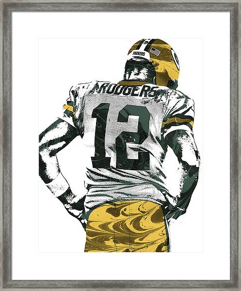 Aaron Rodgers Green Bay Packers Pixel Art 6 Framed Print