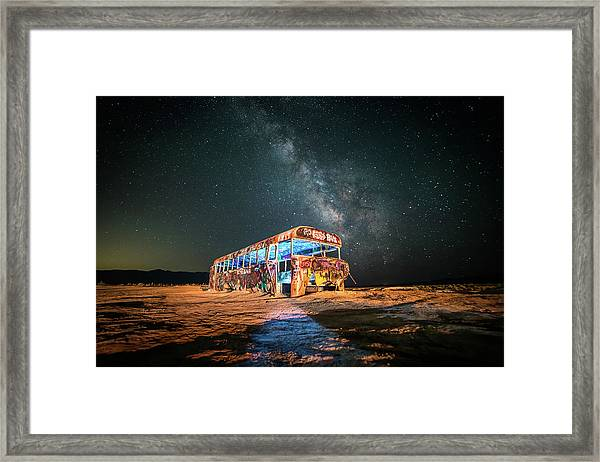 Abandoned Bus Under The Milky Way Framed Print