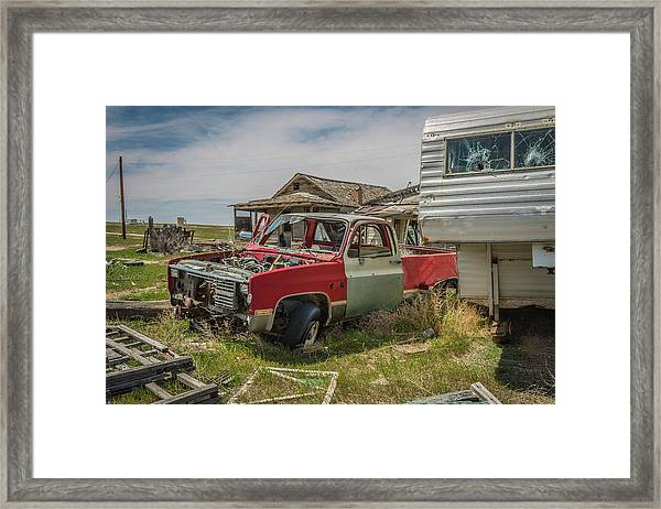 Abandoned Car And Trailer In The Ghost Town Of Cisco, Utah Framed Print