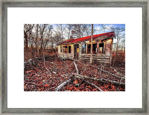 Abandoned House In The Woods Framed Print