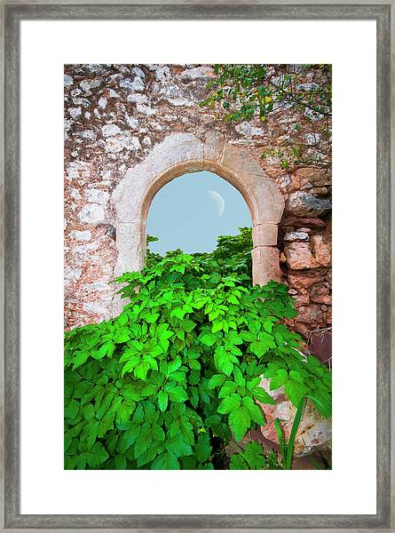 Abandoned Old House With An Arched Door Framed Print
