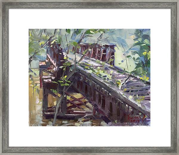 Abandoned Railroad Bridge In Tonawanda Framed Print