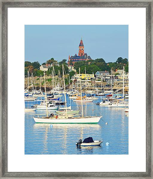 Abbot Hall Over Marblehead Harbor From Chandler Hovey Park Framed Print