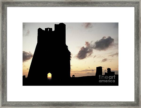 Aberystwyth Castle Tower Ruins At Sunset, Wales Uk Framed Print