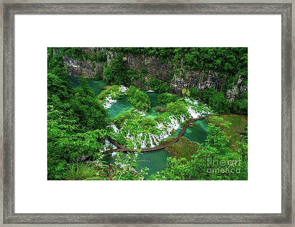 Above The Paths And Waterfalls At Plitvice Lakes National Park, Croatia Framed Print
