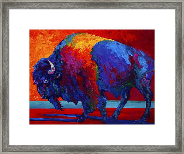 Abstract Bison Framed Print